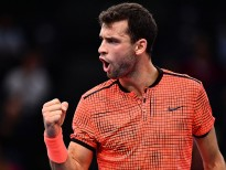 PARIS, FRANCE - NOVEMBER 03:  Grigor Dimitrov of Bulgaria reacts during the Mens Singles third round match against Novak Djokovic of Serbia on day four of the BNP Paribas Masters at Palais Omnisports de Bercy on November 3, 2016 in Paris, France. (Photo by Dan Mullan/Getty Images)