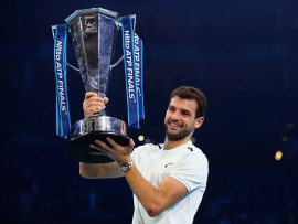 during the singles final against **** during day eight of the 2017 Nitto ATP World Tour Finals at O2 Arena on November 19, 2017 in London, England.