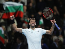 LONDON, ENGLAND - NOVEMBER 17:  Grigor Dimitrov of Bulgaria celebrates victory in his Singles match against Pablo Carreno Busta of Spain during day six of the Nitto ATP World Tour Finals at O2 Arena on November 17, 2017 in London, England.  (Photo by Julian Finney/Getty Images)