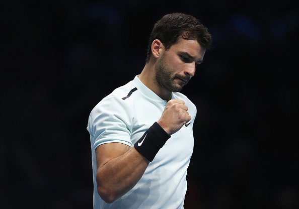 LONDON, ENGLAND - NOVEMBER 17: Grigor Dimitrov of Bulgaria celebrates a point in his Singles match against Pablo Carreno Busta of Spain during day six of the Nitto ATP World Tour Finals at O2 Arena on November 17, 2017 in London, England. (Photo by Julian Finney/Getty Images)