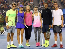 MELBOURNE, AUSTRALIA - JANUARY 17:  (L-R) Roger Federer of Switzerland, Ana Ivanovic of Serbia, Victoria Azarenka of Belarus, Eugenie Bouchard of Canada, Nick Kyrgios of Australia and Thanasis Kokkinakis pose following the Rod Laver Arena Spectacular as part of Kids Tennis Day ahead of the 2015 Australian Open at Melbourne Park on January 17, 2015 in Melbourne, Australia.  (Photo by Graham Denholm/Getty Images)