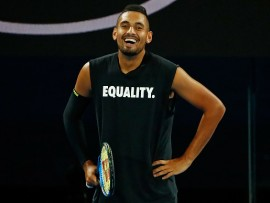 MELBOURNE, AUSTRALIA - JANUARY 13:  Nick Kyrgios of Australia looks on while wearing an Equality shirt during a practice session ahead of the 2018 Australian Open at Melbourne Park on January 13, 2018 in Melbourne, Australia.  (Photo by Scott Barbour/Getty Images)