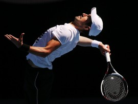 MELBOURNE, AUSTRALIA - JANUARY 14:  Novak Djokovic of Serbia serves during a practice session ahead of the 2018 Australian Open at Melbourne Park on January 14, 2018 in Melbourne, Australia.  (Photo by Michael Dodge/Getty Images)
