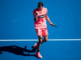 MELBOURNE, VIC - JANUARY 15: GRIGOR DIMITROV (BUL) during day one match of the 2018 Australian Open on January 15, 2018 at Melbourne Park Tennis Centre Melbourne, Australia (Photo by Chaz Niell/Icon Sportswire via Getty Images)