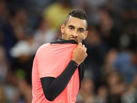 MELBOURNE, AUSTRALIA - JANUARY 15:  Nick Kyrgios of Australia looks on in his first round match against Rogerio Dutra Silva of Brazil on day one of the 2018 Australian Open at Melbourne Park on January 15, 2018 in Melbourne, Australia.  (Photo by Mark Kolbe/Getty Images)