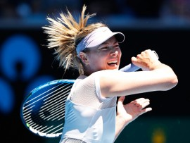 MELBOURNE, AUSTRALIA - JANUARY 16:  Maria Sharapova of Russia plays a forehand in her first round match against Tatjana Maria of Germany on day two of the 2018 Australian Open at Melbourne Park on January 16, 2018 in Melbourne, Australia.  (Photo by Michael Dodge/Getty Images)