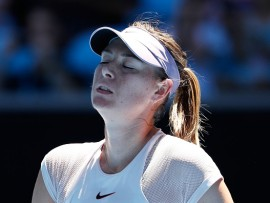 MELBOURNE, AUSTRALIA - JANUARY 16:  Maria Sharapova of Russia reacts in her first round match against Tatjana Maria of Germany on day two of the 2018 Australian Open at Melbourne Park on January 16, 2018 in Melbourne, Australia.  (Photo by Michael Dodge/Getty Images)