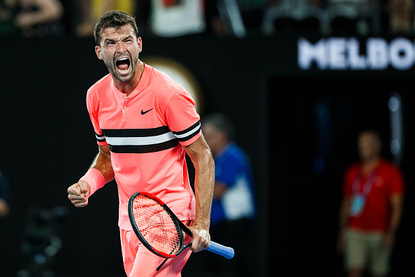 MELBOURNE, VIC - JANUARY 17: GRIGOR DIMITROV (BUL) during day three match of the 2018 Australian Open on January 17, 2018 at Melbourne Park Tennis Centre Melbourne, Australia (Photo by Chaz Niell/Icon Sportswire via Getty Images)