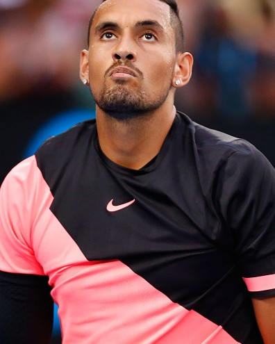 MELBOURNE, AUSTRALIA - JANUARY 21: Nick Kyrgios of Australia reacts in his fourth round match against Grigor Dimitrov of Bulgaria on day seven of the 2018 Australian Open at Melbourne Park on January 21, 2018 in Melbourne, Australia. (Photo by Darrian Traynor/Getty Images)