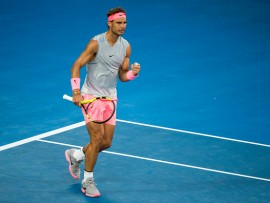 MELBOURNE, VIC - JANUARY 23: Rafael Nadal of Spain celebrates in his Quarterfinals match during the 2018 Australian Open on January 23, 2018, at Melbourne Park Tennis Centre in Melbourne, Australia. (Photo by Jason Heidrich/Icon Sportswire via Getty Images)
