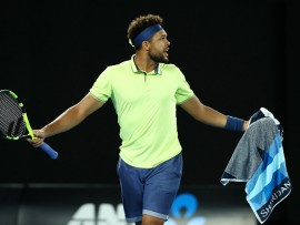 MELBOURNE, AUSTRALIA - JANUARY 19:  Jo-Wilfried Tsonga of France argues with the umpire in his third round match against Nick Kyrgios of Australia on day five of the 2018 Australian Open at Melbourne Park on January 19, 2018 in Melbourne, Australia. (Photo by Cameron Spencer/Getty Images)