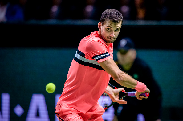 ROTTERDAM, NETHERLANDS - FEBRUARY 16: ABN Amro WTT Grigor Dimitrov during the   ABN Amro World Tennis Tournament at the Rotterdam Ahoy on February 16, 2018 in Rotterdam Netherlands (Photo by Jan Kok/Soccrates/Getty Images)