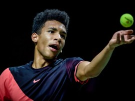 ROTTERDAM, NETHERLANDS - FEBRUARY 13: ABN Amro WTT Felix Auger-Aliassime during the   ABN Amro World Tennis Tournament at the Rotterdam Ahoy on February 13, 2018 in Rotterdam Netherlands (Photo by Jan Kok/Soccrates/Getty Images)