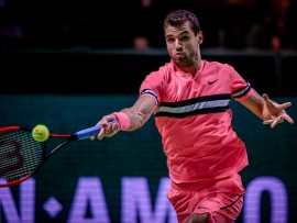ROTTERDAM, NETHERLANDS - FEBRUARY 14: ABN Amro WTT (L-R) Grigor Dimitrov during the   ABN Amro World Tennis Tournament at the Rotterdam Ahoy on February 14, 2018 in Rotterdam Netherlands (Photo by Jan Kok/Soccrates/Getty Images)