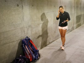 Friday, March 16, 2018 - Daria Kasatkina prepares to walk on to Stadium 1 for her Semifinal match against Daria Kasatkina during the BNP Paribas Open in Indian Wells, California. (Jared Wickerham/BNP Paribas Open)