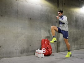 Friday, March 16, 2018 - Milos Raonic plays Sam Querrey in the Quarterfinal of the BNP Paribas Open in Stadium 1 at the Indian Wells Tennis Garden in Indian Wells, California. (Kathryn Riley/BNP Paribas Open)