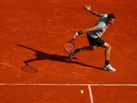 MONTE-CARLO, MONACO - APRIL 17:  Grigor Dimitrov of Bulgaria hits a back hand during his Mens Singles match against Pierre-Hughes Herbert of France  at Monte-Carlo Sporting Club on April 17, 2018 in Monte-Carlo, Monaco.  (Photo by Julian Finney/Getty Images)