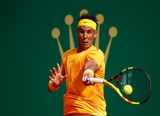during his Mens Singles match against *********** at Monte-Carlo Sporting Club on April 18, 2018 in Monte-Carlo, Monaco.