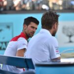 Novak Djokovic of Serbia and Stan Wawrinka of Switzerland play against Marcus Daniell of Australia and Wesley Koolhof of Netherland in their doubles match on day three of Fever Tree Championships at Queen's Club, London on June 20, 2018. (Photo by Alberto Pezzali/NurPhoto via Getty Images)