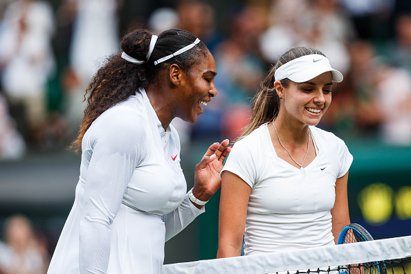 LONDON, ENG - JULY 04: SERENA WILLIAMS (USA) and VIKTORIYA TOMOVA (BUL) during day three match of the 2018 Wimbledon on July 4, 2018, at All England Lawn Tennis and Croquet Club in London,England. (Photo by Chaz Niell/Icon Sportswire via Getty Images)