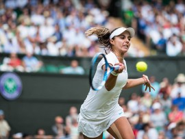 LONDON, ENG - JULY 04: VIKTORIYA TOMOVA (BUL) during day three match of the 2018 Wimbledon on July 4, 2018, at All England Lawn Tennis and Croquet Club in London,England. (Photo by Chaz Niell/Icon Sportswire via Getty Images)