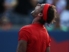 TORONTO, ON - AUGUST 12:  Rafael Nadal of Spain celebrates victory against Stefanos Tsitsipas of Greece during the final match on Day 7 of the Rogers Cup at Aviva Centre on August 12, 2018 in Toronto, Canada.  (Photo by Vaughn Ridley/Getty Images)