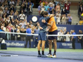 "2018 US Open Tennis Tournament- Day Fourteen.  Novak Djokovic of Serbia and Juan Martin Del Potro of Argentina embrace at the net after the Men's Singles Final on Arthur Ashe Stadium at the 2018 US Open Tennis Tournament at the USTA Billie Jean King National Tennis Center on September 9th, 2018 in Flushing, Queens, New York City.  (Photo by Tim Clayton/Corbis via Getty Images)""n"