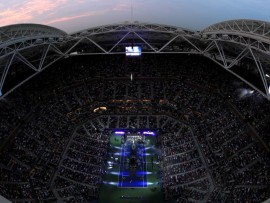 NEW YORK, NY - AUGUST 27:  A general view of Arthur Ashe Stadium during the opening night performance by singer-songwriter Kelly Clarkson on Day One of the 2018 US Open at the USTA Billie Jean King National Tennis Center on August 27, 2018 in the Flushing neighborhood of the Queens borough of New York City.  (Photo by Al Bello/Getty Images)