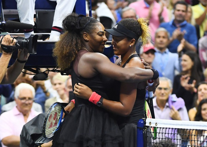 September 8, 2018 - Naomi Osaka and Serena Williams hug after the women's singles final during the 2018 US Open.