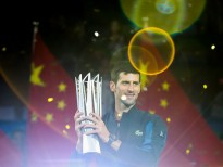 SHANGHAI, CHINA - OCTOBER 14:  Novak Djokovic of Serbia pose with trophy after winning his men's singles final match against Borna Coric of Croatia in the Men's singles final match on day 8 of Shanghai Rolex Masters at Qi Zhong Tennis Centre on October 14, 2018 in Shanghai, China.  (Photo by Lintao Zhang/Getty Images)