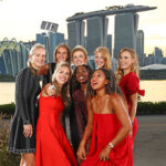 SINGAPORE - OCTOBER 19: The 2018 BNP Paribas WTA Finals Singapore presented by SC Global returns to Singapore for the fifth consecutive year with the top women competing for $7 million in prize money from October 21 to October 28. This year's singles field pose at Bay East Garden.  Left to Right: Kiki Bertens of the Netherlands, Karolina Pliskova of the Czech Republic, lina Svitolina of the Ukraine, Petra Kvitova of the Czech Republic, Caroline Wozniacki of Denmark, Angelique Kerber of Germany, Sloane Stephens of the United States and Naomi Osaka of Japan,  on October 19, 2018 in Singapore.  (Photo by Clive Brunskill/Getty Images)