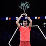 PARIS, FRANCE - NOVEMBER 04:  Karen Khachanov of Russia poses with the trophy after he wins the match against Novak Djokovic of Serbia during the Men's Final during Day Seven of the Rolex Paris Masters on November 4, 2018 in Paris, France.  (Photo by Justin Setterfield/Getty Images)
