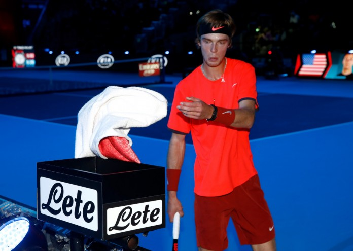 MILAN, ITALY - NOVEMBER 06: Andrey Rublev of Russia uses his towell from the new corner box in his match against Taylor Fritz of USA in the group stages during Day One of the Next Gen ATP Finals at Fiera Milano Rho on November 6, 2018 in Milan, Italy. (Photo by Julian Finney/Getty Images)