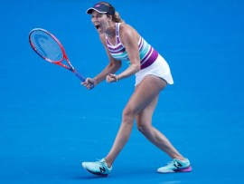 MELBOURNE, AUSTRALIA - JANUARY 22:  Danielle Collins of the United States celebrates winning a point in her quarter final match against Anastasia Pavlyuchenkova of Russia during day nine of the 2019 Australian Open at Melbourne Park on January 22, 2019 in Melbourne, Australia.  (Photo by Darrian Traynor/Getty Images)