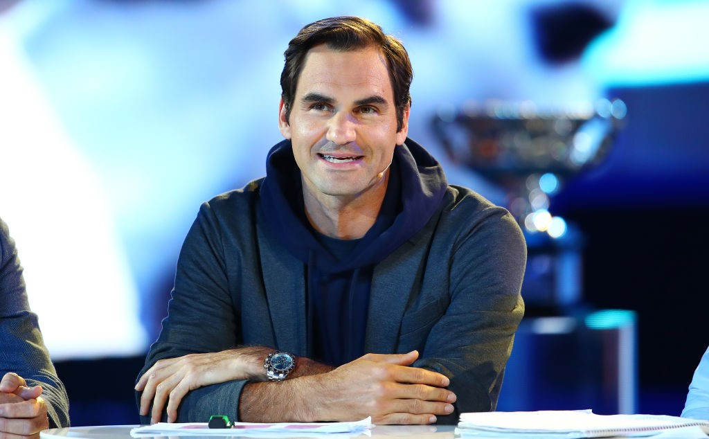 MELBOURNE, AUSTRALIA - JANUARY 10: Roger Federer of Switzerland speaks on stage near the Norman Brookes Challenge Cup during the Official Draw ahead of the 2019 Australian Open at Margaret Court Arena on January 10, 2019 in Melbourne, Australia. (Photo by Scott Barbour/Getty Images)