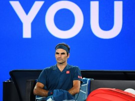 MELBOURNE, AUSTRALIA - JANUARY 18:  Roger Federer of Switzerland looks on in his third round match against Taylor Fritz of the United States during day five of the 2019 Australian Open at Melbourne Park on January 18, 2019 in Melbourne, Australia.  (Photo by Quinn Rooney/Getty Images)