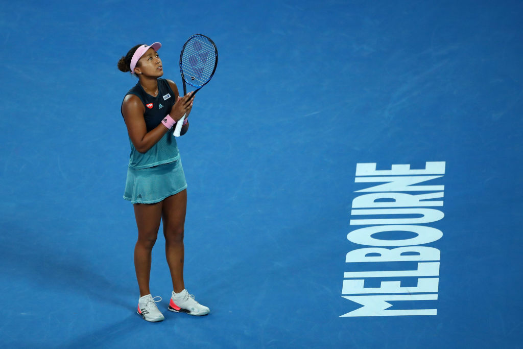 MELBOURNE, AUSTRALIA - JANUARY 24:  Naomi Osaka of Japan awaits review on match point in her Women's Semi Final match against Karolina Pliskova of Czech Republic during day 11 of the 2019 Australian Open at Melbourne Park on January 24, 2019 in Melbourne, Australia.  (Photo by Cameron Spencer/Getty Images)