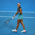 MELBOURNE, AUSTRALIA - JANUARY 24:  Naomi Osaka of Japan celebrates match point in her Women's Semi Final match against Karolina Pliskova of Czech Republic during day 11 of the 2019 Australian Open at Melbourne Park on January 24, 2019 in Melbourne, Australia.  (Photo by Cameron Spencer/Getty Images)
