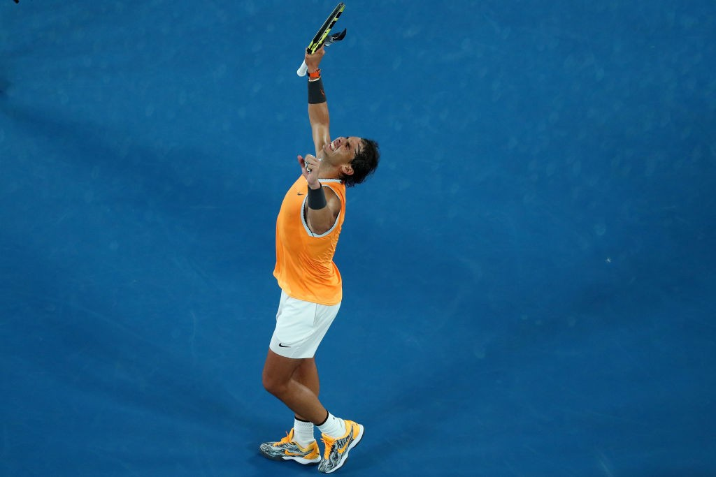 MELBOURNE, AUSTRALIA - JANUARY 24: Rafael Nadal of Spain celebrates match point after winning his Men's Singles Semi Final match against Stefanos Tsitsipas of Greece during day 11 of the 2019 Australian Open at Melbourne Park on January 24, 2019 in Melbourne, Australia. (Photo by Michael Dodge/Getty Images)