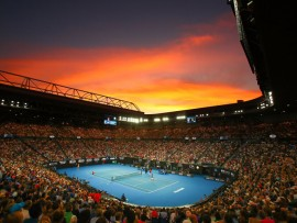MELBOURNE, AUSTRALIA - JANUARY 27:  A general view inside Rod Laver Arena at sunset during the Men's Singles Final match betwen Novak Djokovic of Serbia and Rafael Nadal of Spain during day 14 of the 2019 Australian Open at Melbourne Park on January 27, 2019 in Melbourne, Australia.  (Photo by Scott Barbour/Getty Images)