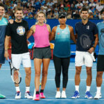 MELBOURNE, AUSTRALIA - JANUARY 12: (L-R) Milos Raonic of Canada, Grigor Dimitrov of Bulgaria, Victoria Azarenka of Belarus, Naomi Osaka of Japan, Novak Djokovic of Serbia and Hyeon Chung of South Korea pose for a photo during the 2019 Australian Open Kids Day at Melbourne Park on January 12, 2019 in Melbourne, Australia. (Photo by Daniel Pockett/Getty Images  for Tennis Australia)