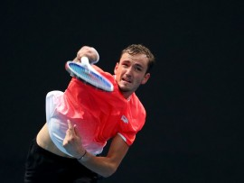 MELBOURNE, AUSTRALIA - JANUARY 17:  Daniil Medvedev of Russia serves in his second round match against Ryan Harrison of the United States during day four of the 2019 Australian Open at Melbourne Park on January 17, 2019 in Melbourne, Australia.  (Photo by Scott Barbour/Getty Images)