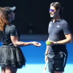 MELBOURNE, AUSTRALIA - JANUARY 10: Serena Williams of the USA with coach Patrick Mouratoglou during a practice session ahead of the 2019 Australian Open at Melbourne Park on January 10, 2019 in Melbourne, Australia. (Photo by Michael Dodge/Getty Images)