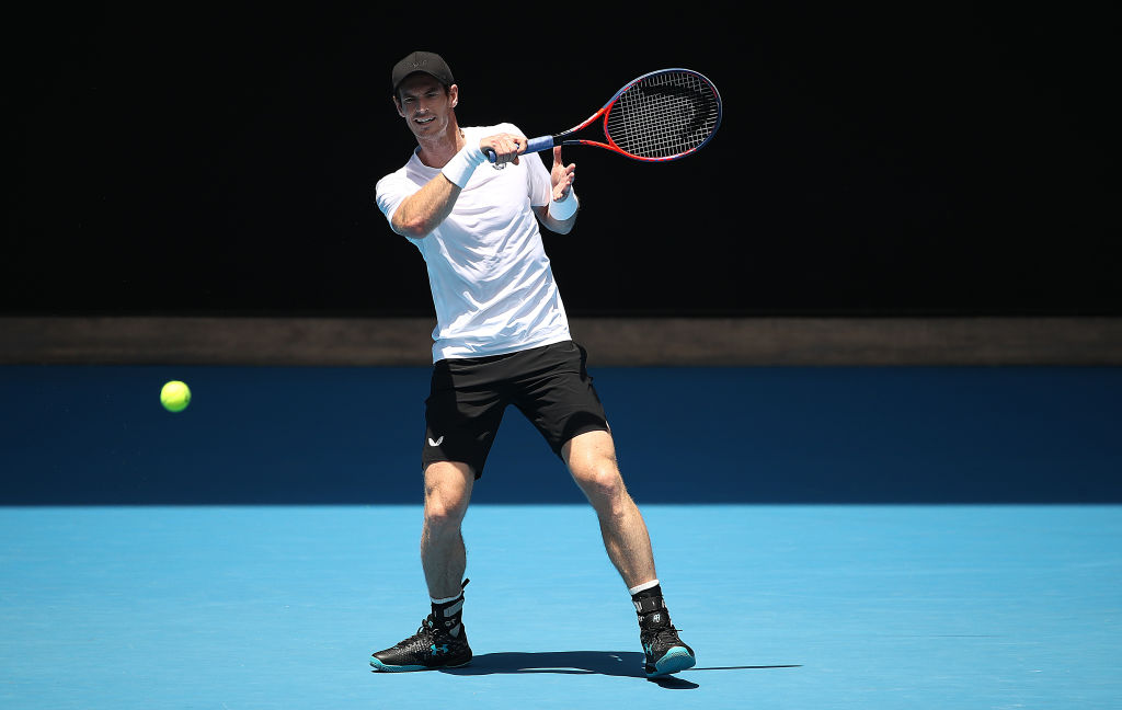 MELBOURNE, AUSTRALIA - JANUARY 12: Andy Murray of Great Britain plays a shot during a practice session ahead of the 2019 Australian Open at Melbourne Park on January 12, 2019 in Melbourne, Australia. (Photo by Scott Barbour/Getty Images)