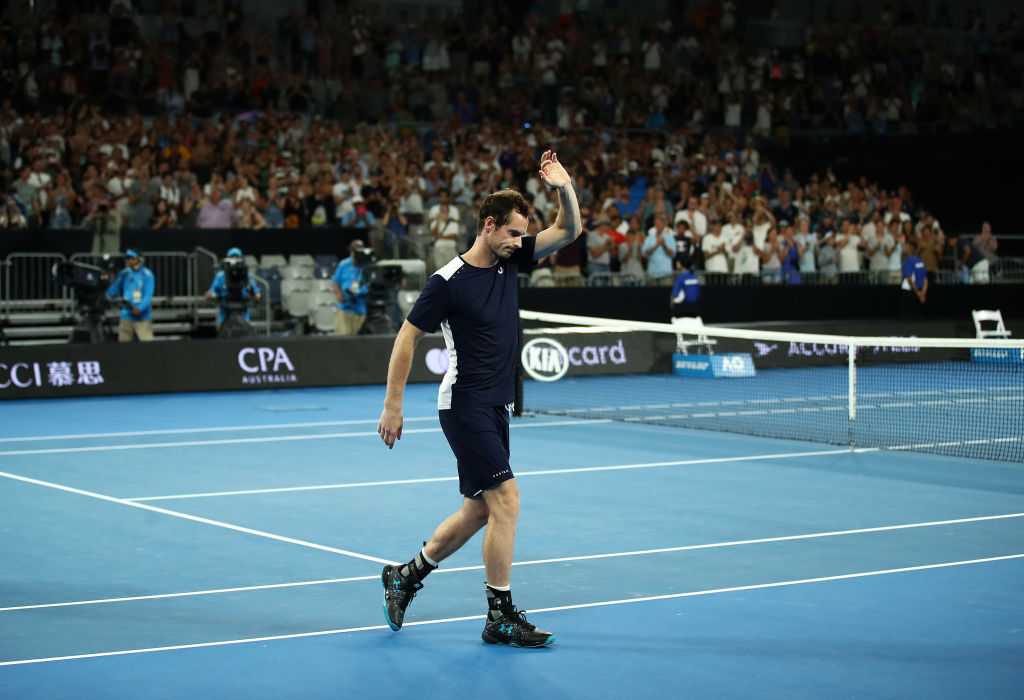 MELBOURNE, AUSTRALIA - JANUARY 14: Andy Murray of Great Britain after his first round loss to Roberto Bautista Agut of Spain during day one of the 2019 Australian Open at Melbourne Park on January 14, 2019 in Melbourne, Australia. (Photo by Julian Finney/Getty Images)