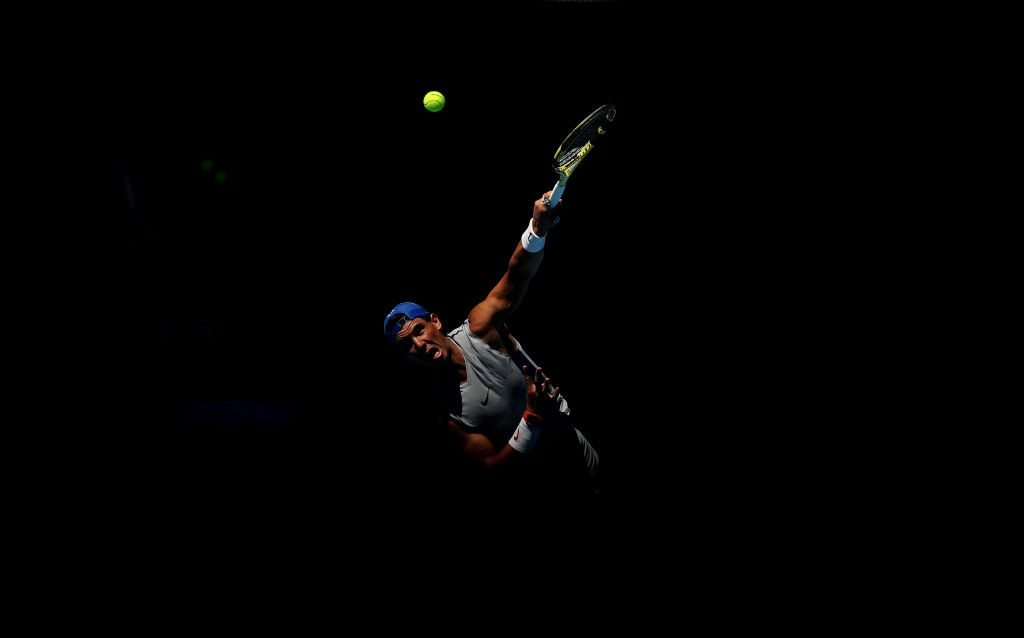 MELBOURNE, AUSTRALIA - JANUARY 11: Rafael Nadal of Spain plays a shot during a practice session ahead of the 2019 Australian Open at Melbourne Park on January 11, 2019 in Melbourne, Australia. (Photo by Scott Barbour/Getty Images)