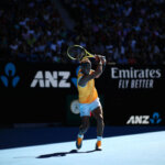 MELBOURNE, AUSTRALIA - JANUARY 20:  Rafael Nadal of Spain in action in his fourth round match against Tomas Berdych of the Czech Republic during day seven of the 2019 Australian Open at Melbourne Park on January 20, 2019 in Melbourne, Australia. (Photo by Julian Finney/Getty Images)