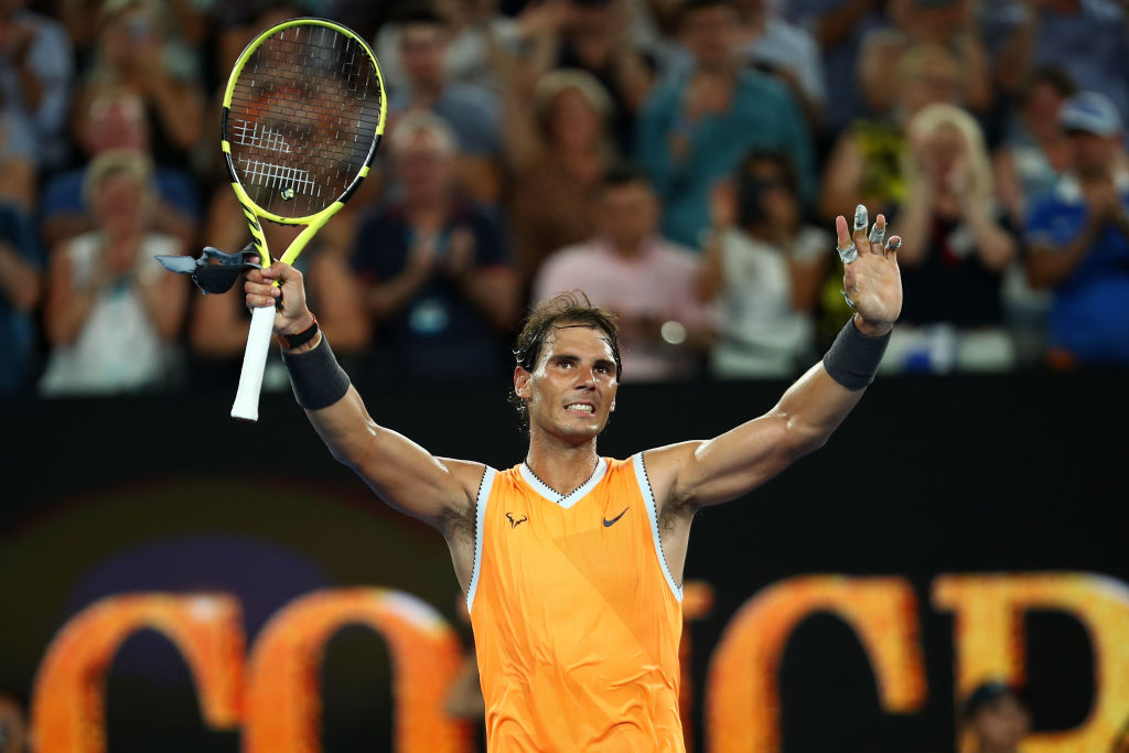 MELBOURNE, AUSTRALIA - JANUARY 24: Rafael Nadal of Spain celebrates match point after winning his Men's Singles Semi Final match against Stefanos Tsitsipas of Greece during day 11 of the 2019 Australian Open at Melbourne Park on January 24, 2019 in Melbourne, Australia. (Photo by Julian Finney/Getty Images)