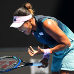 MELBOURNE, AUSTRALIA - JANUARY 23:  Naomi Osaka of Japan reacts in her quarter final match against Elina Svitolina of Ukraine during day 10 of the 2019 Australian Open at Melbourne Park on January 23, 2019 in Melbourne, Australia.].  (Photo by Quinn Rooney/Getty Images)