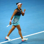 MELBOURNE, AUSTRALIA - JANUARY 26:  Naomi Osaka of Japan celebrates a point in her Women's Singles Final match against Petra Kvitova of the Czech Republic during day 13 of the 2019 Australian Open at Melbourne Park on January 26, 2019 in Melbourne, Australia.  (Photo by Julian Finney/Getty Images)
